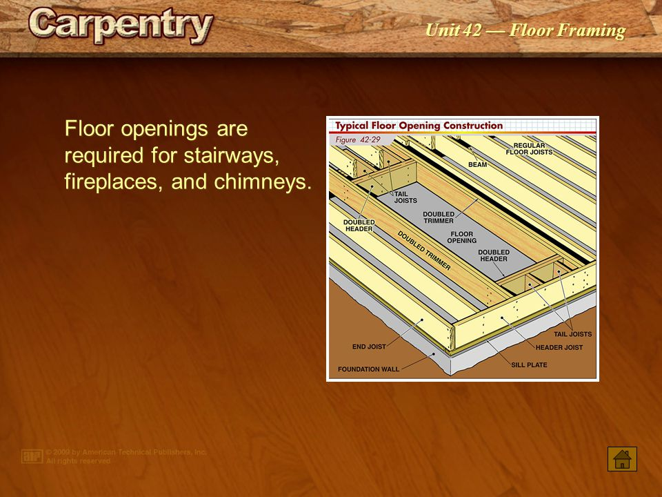 Unit 42 — Floor Framing Solid pieces are often used for bridging between joists.