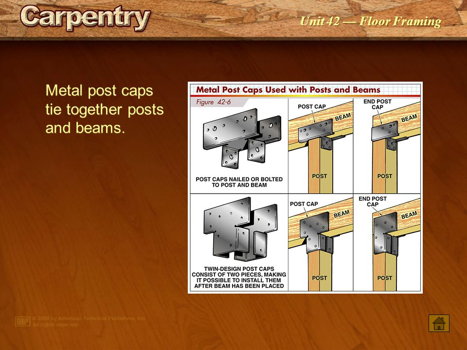 Unit 42 — Floor Framing Joists butting over a beam should have the ends scabbed together with a metal or wood tie.