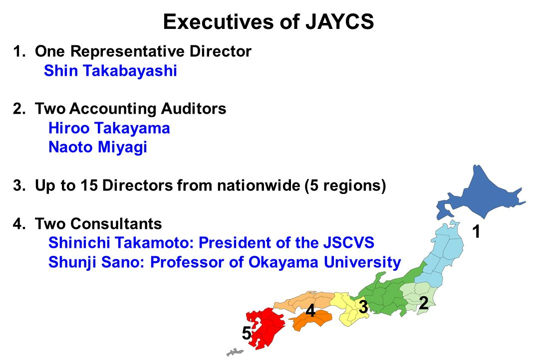 Executives of JAYCS 1 2 3 4 5 1.One Representative Director Shin Takabayashi 2.
