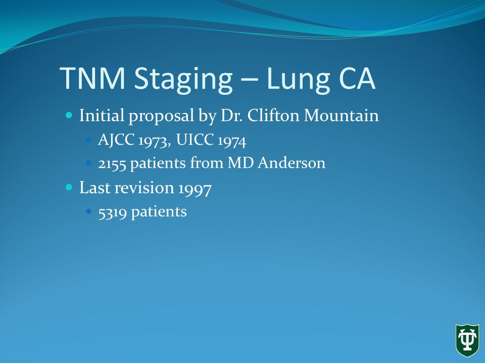 TNM Staging – Lung CA Initial proposal by Dr.