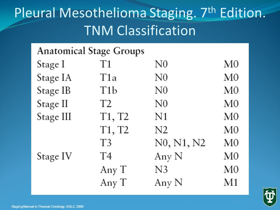 Pleural Mesothelioma Staging. 7 th Edition.