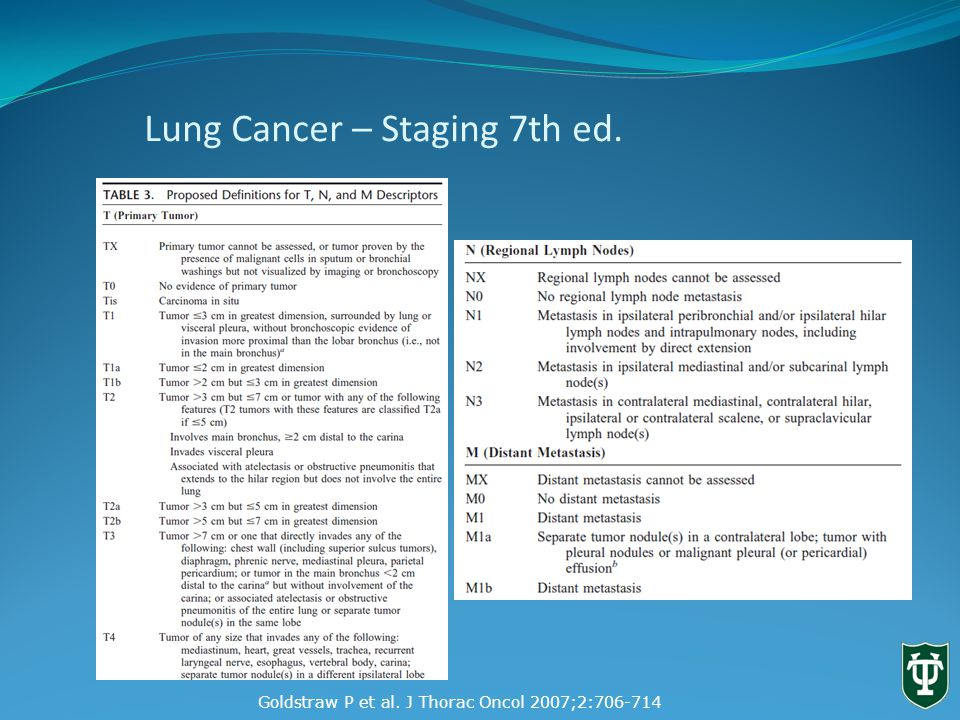 Lung Cancer Staging. 7 th Edition. T4 Staging Manual In Thoracic Oncology IASLC. 2009