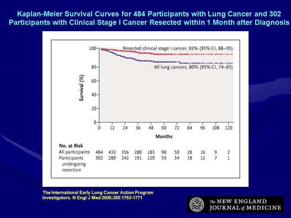 Kaplan-Meier Survival Curves for 484 Participants with Lung Cancer and 302 Participants with Clinical Stage I Cancer Resected within 1 Month after Diagnosis The International Early Lung Cancer Action Program Investigators.