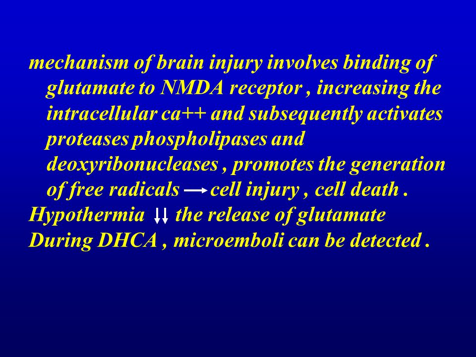mechanism of brain injury involves binding of glutamate to NMDA receptor, increasing the intracellular ca++ and subsequently activates proteases phosp