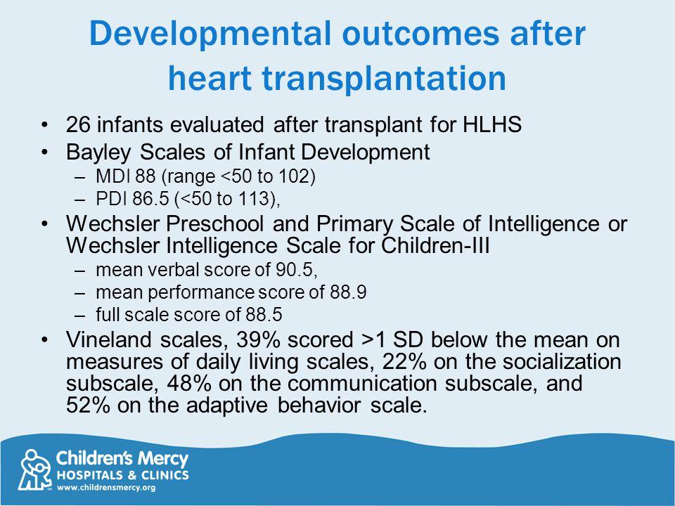 Developmental outcomes after heart transplantation 26 infants evaluated after transplant for HLHS Bayley Scales of Infant Development –MDI 88 (range <