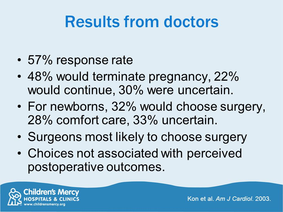 Results from doctors 57% response rate 48% would terminate pregnancy, 22% would continue, 30% were uncertain. For newborns, 32% would choose surgery,