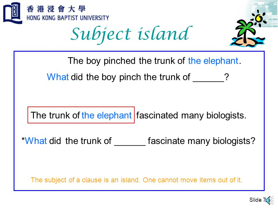 Slide 6 Complex NP island The boy pinched.the elephant What didthe boy pinch ______.