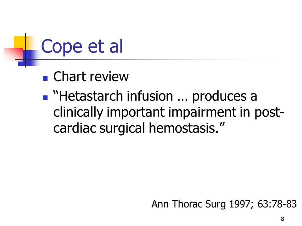 """8 Cope et al Chart review """"Hetastarch infusion … produces a clinically important impairment in post- cardiac surgical hemostasis."""" Ann Thorac Surg 199"""