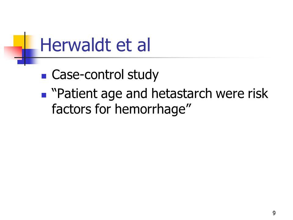"9 Herwaldt et al Case-control study ""Patient age and hetastarch were risk factors for hemorrhage"""