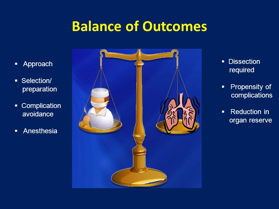 Balance of Outcomes  Dissection required  Propensity of complications  Reduction in organ reserve  Approach  Selection/ preparation  Complication avoidance  Anesthesia