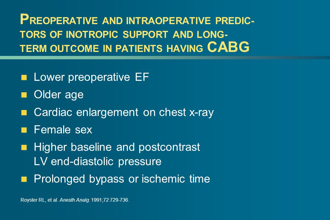P REOPERATIVE AND INTRAOPERATIVE PREDIC- TORS OF INOTROPIC SUPPORT AND LONG- TERM OUTCOME IN PATIENTS HAVING CABG Lower preoperative EF Older age Cardiac enlargement on chest x-ray Female sex Higher baseline and postcontrast LV end-diastolic pressure Prolonged bypass or ischemic time Royster RL, et al.