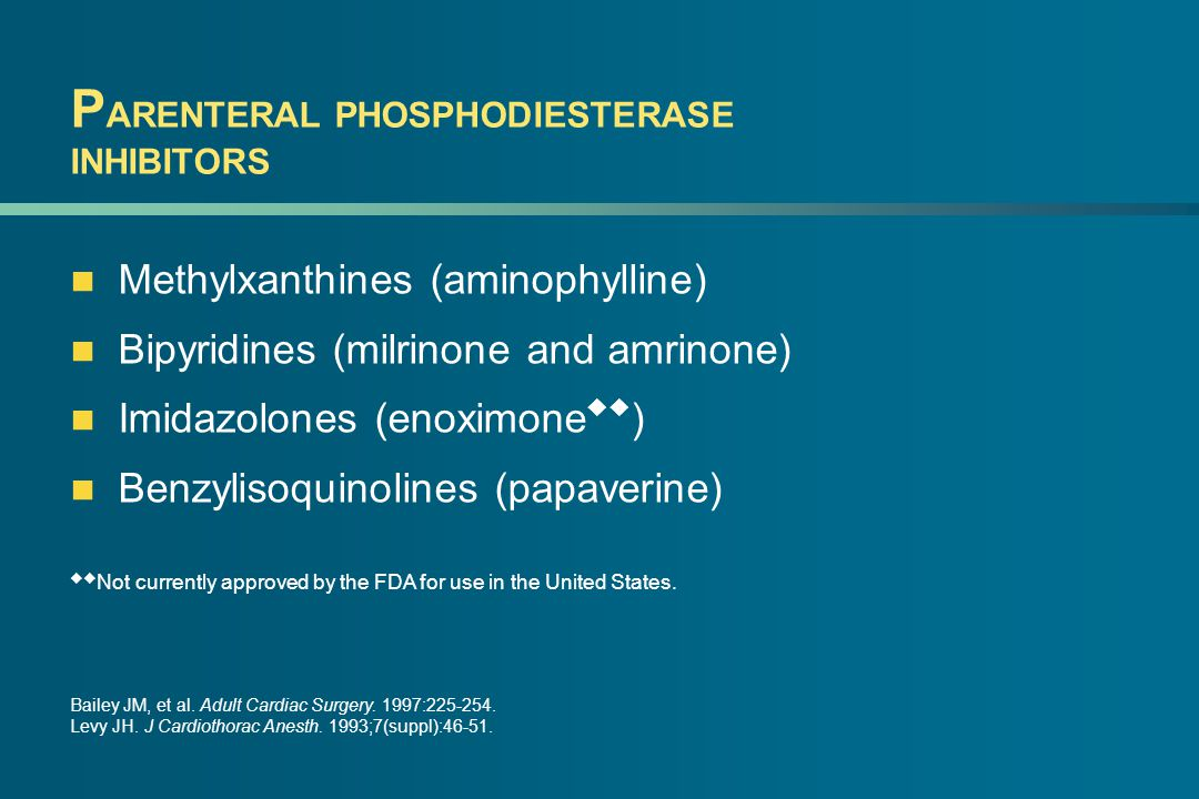 P ARENTERAL PHOSPHODIESTERASE INHIBITORS Methylxanthines (aminophylline) Bipyridines (milrinone and amrinone) Imidazolones (enoximone  ) Benzylisoquinolines (papaverine)  Not currently approved by the FDA for use in the United States.