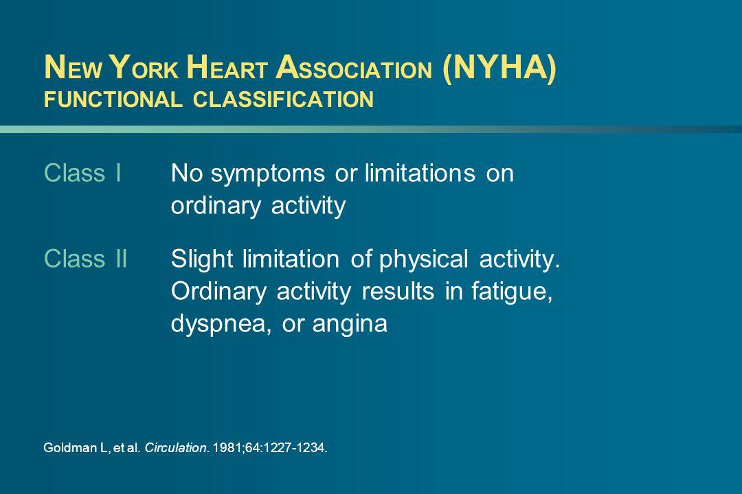 N EW Y ORK H EART A SSOCIATION (NYHA) FUNCTIONAL CLASSIFICATION Class INo symptoms or limitations on ordinary activity Class IISlight limitation of ph
