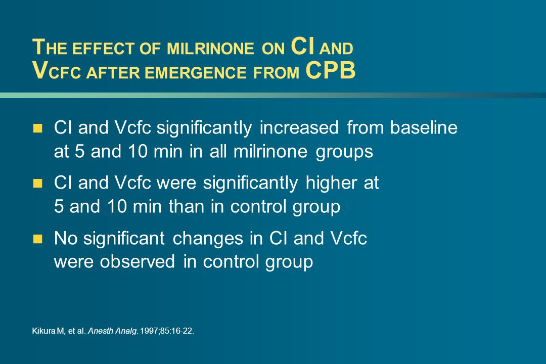 T HE EFFECT OF MILRINONE ON CI AND V CFC AFTER EMERGENCE FROM CPB CI and Vcfc significantly increased from baseline at 5 and 10 min in all milrinone groups CI and Vcfc were significantly higher at 5 and 10 min than in control group No significant changes in CI and Vcfc were observed in control group Kikura M, et al.