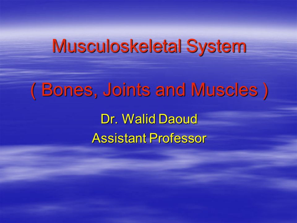 Musculoskeletal System ( Bones, Joints and Muscles ) Dr. Walid Daoud Assistant Professor