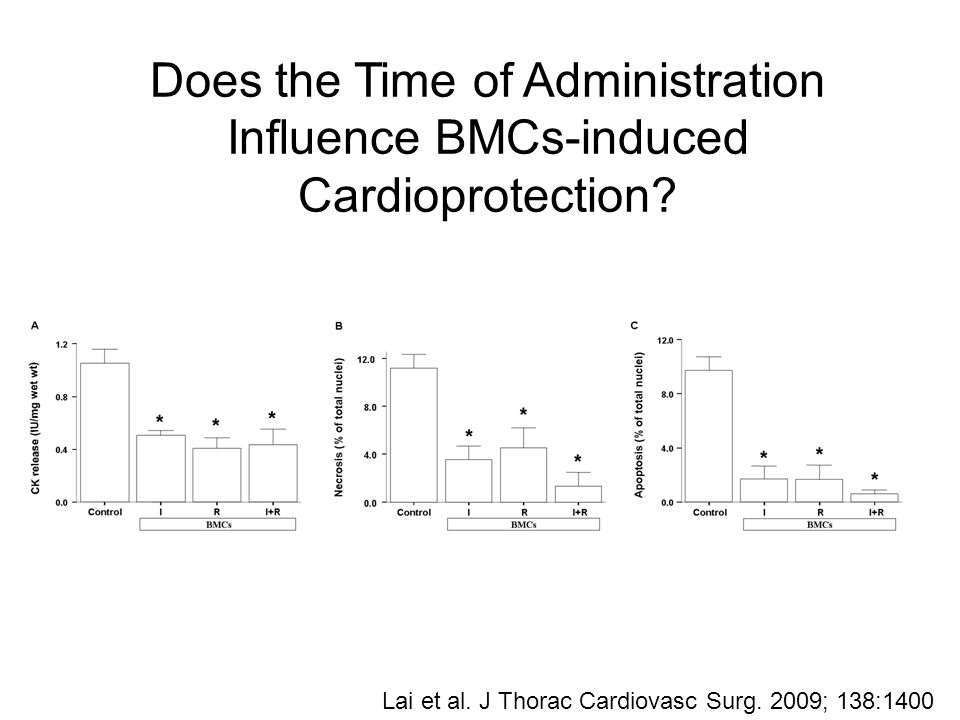 Does the Time of Administration Influence BMCs-induced Cardioprotection.
