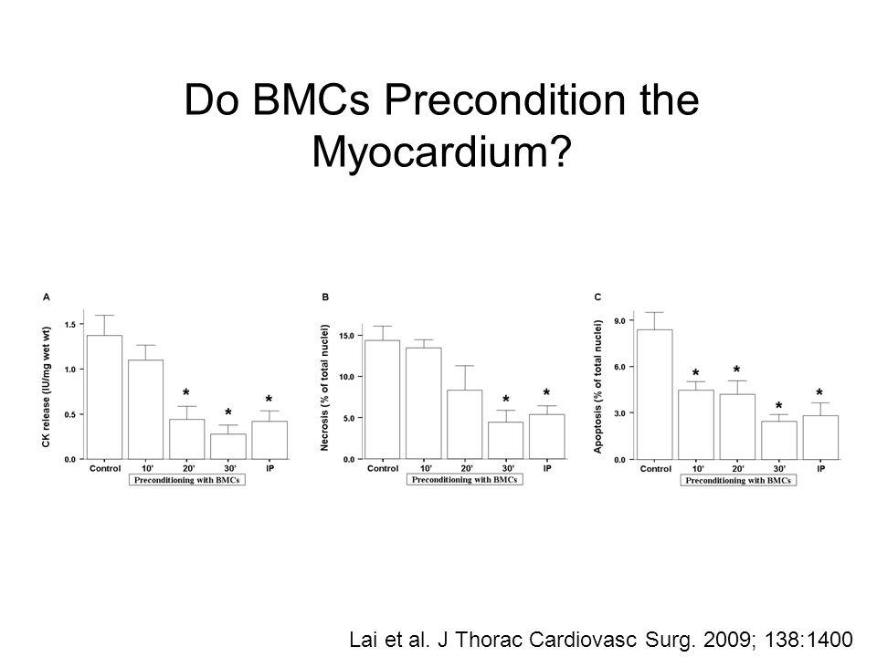 Do BMCs Precondition the Myocardium Lai et al. J Thorac Cardiovasc Surg. 2009; 138:1400