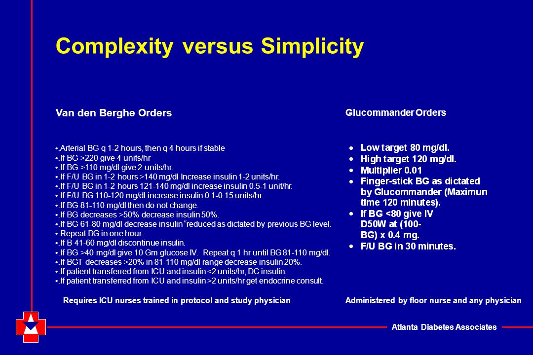 Atlanta Diabetes Associates Complexity versus Simplicity. Arterial BG q 1-2 hours, then q 4 hours if stable. If BG >220 give 4 units/hr. If BG >110 mg