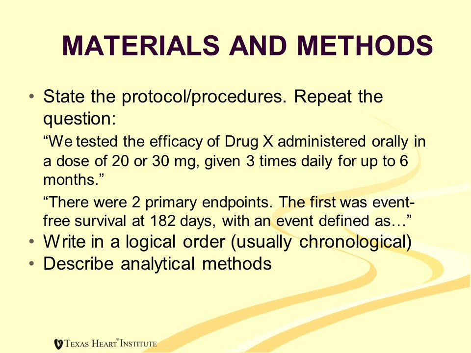 MATERIALS AND METHODS State the protocol/procedures.