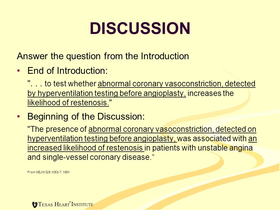DISCUSSION Answer the question from the Introduction End of Introduction: ...