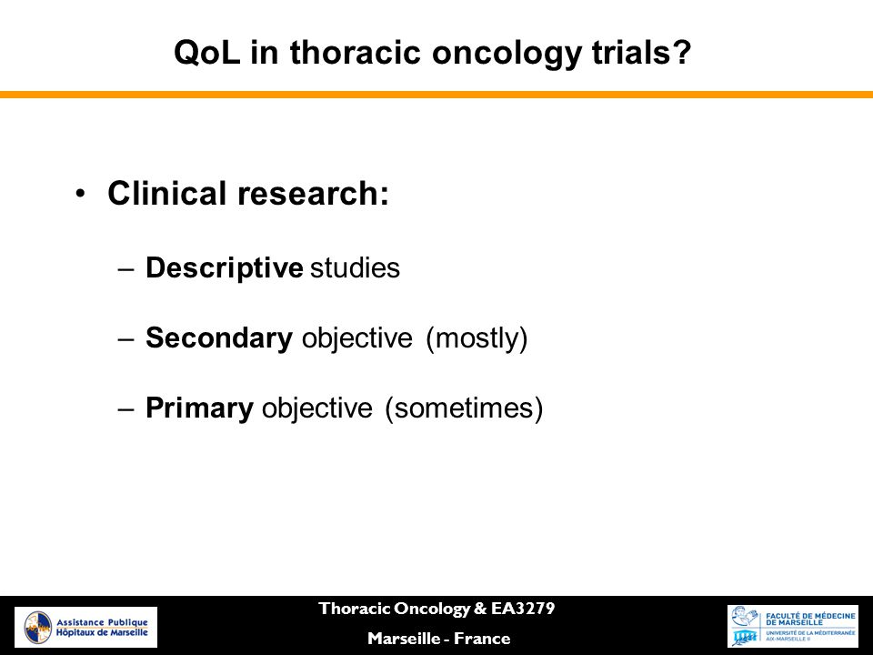 QoL in thoracic oncology trials.