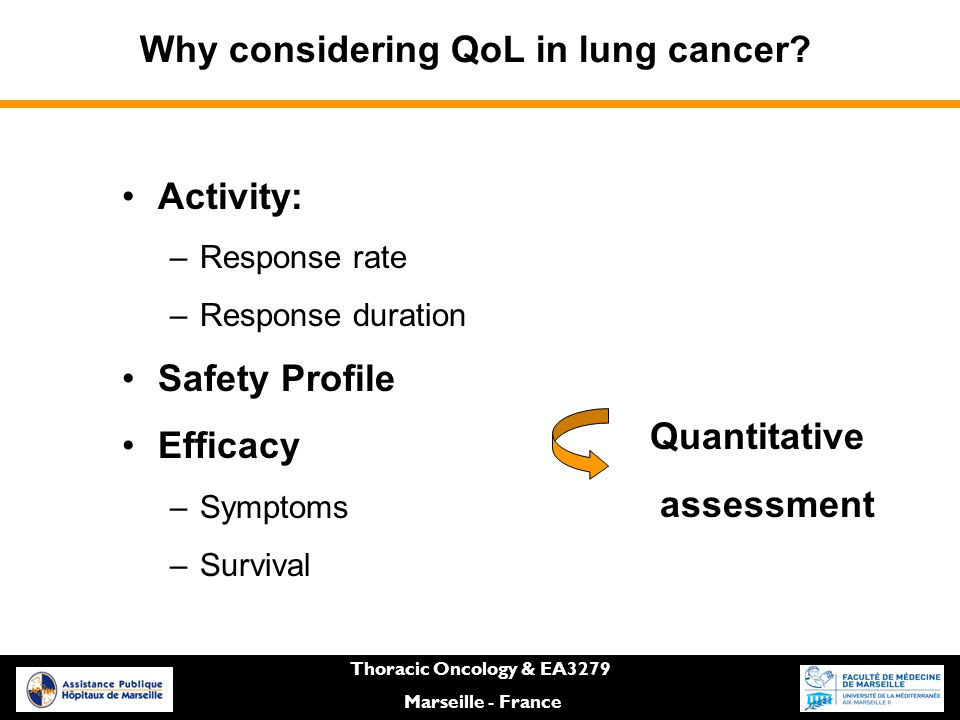 Thoracic Oncology & EA3279 Marseille - France Why considering QoL in lung cancer.