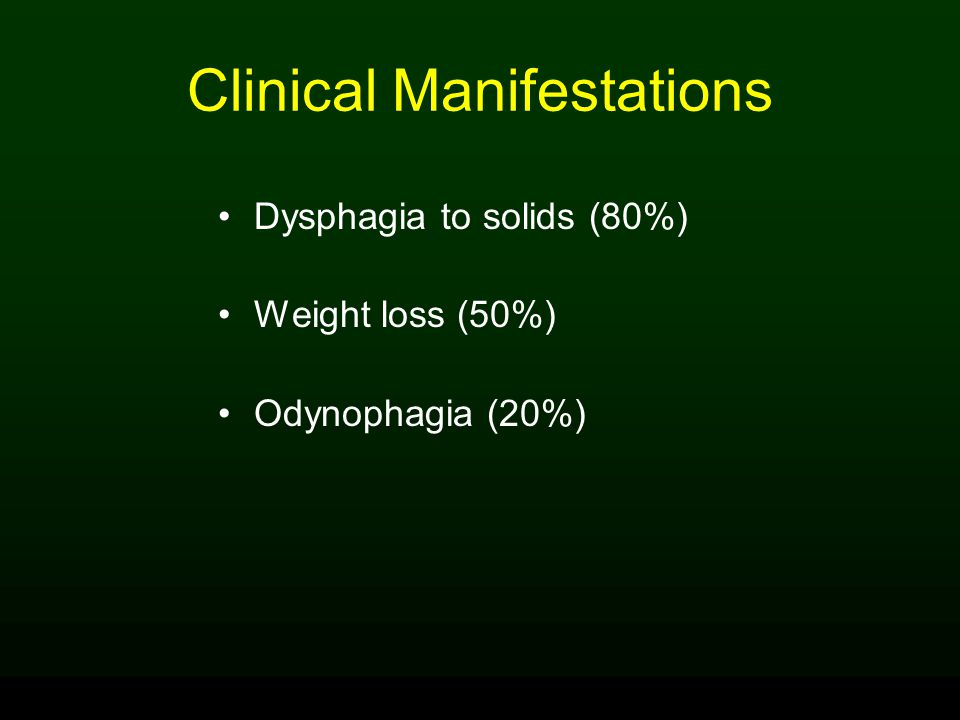 Clinical Manifestations Dysphagia to solids (80%) Weight loss (50%) Odynophagia (20%)