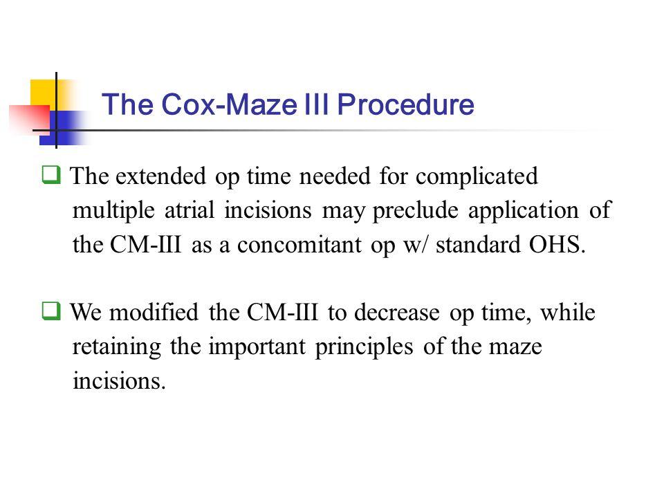 Conventional CM-IIIModified CM-III Modification of the Cox-Maze III Procedure Ki-Bong Kim, et al Ann Thorac Surg 2001;71:816-22