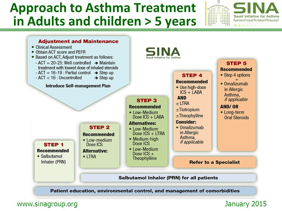 www.sinagroup.org January 2015 Approach to Asthma Treatment in Adults and children > 5 years