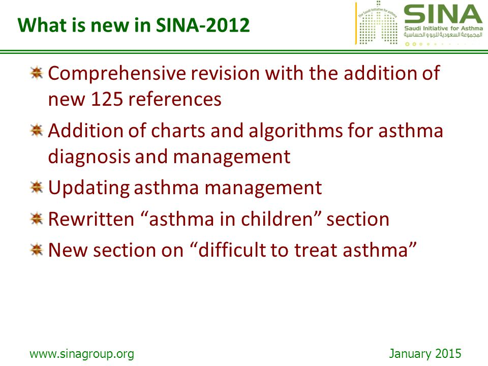 www.sinagroup.org January 2015 more effective in seasonal asthma than in perennial asthma, particularly when used against a single allergen.