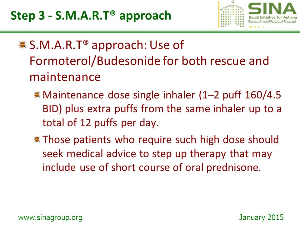www.sinagroup.org January 2015 Step 3 - S.M.A.R.T® approach S.M.A.R.T® approach: Use of Formoterol/Budesonide for both rescue and maintenance Maintena