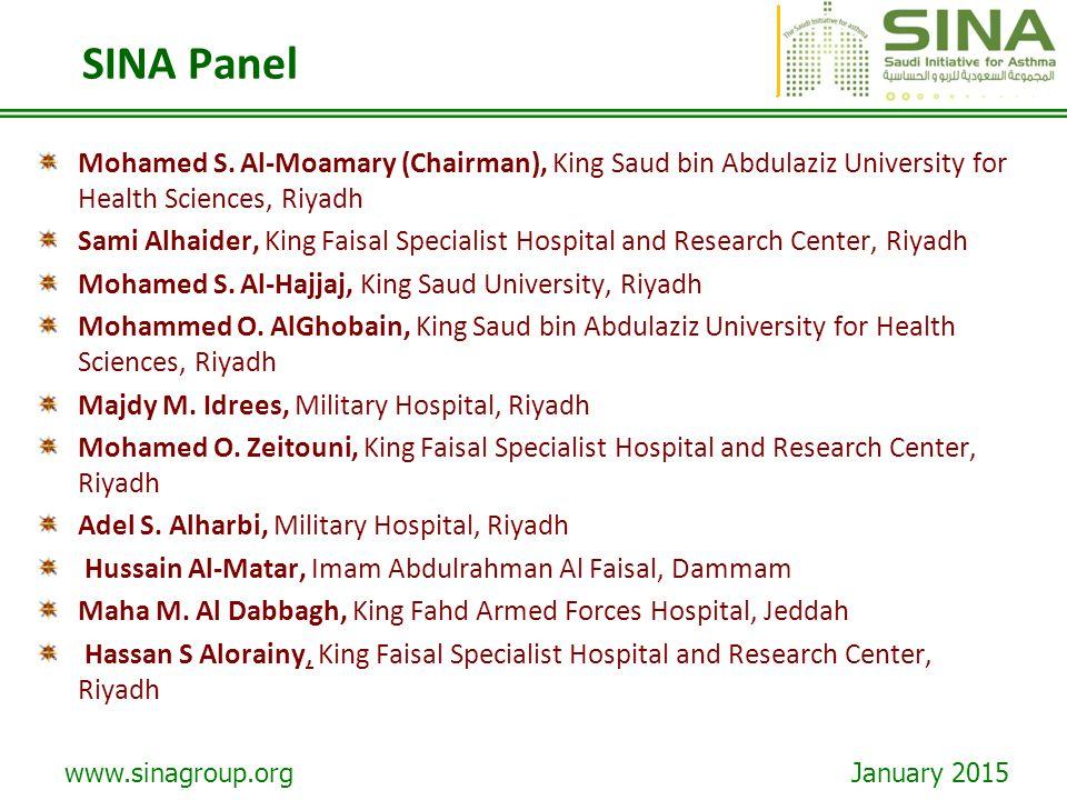www.sinagroup.org January 2015 SINA Panel Mohamed S. Al-Moamary (Chairman), King Saud bin Abdulaziz University for Health Sciences, Riyadh Sami Alhaid