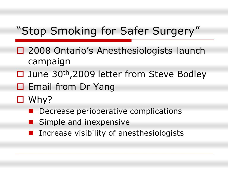 No follow-up/Not the place  Creation of program  Follow-up by the Ottawa Heart Institute Smoking Cessation Clinic  Hopefully – smoking cessation clinic at the TOH (we can help)