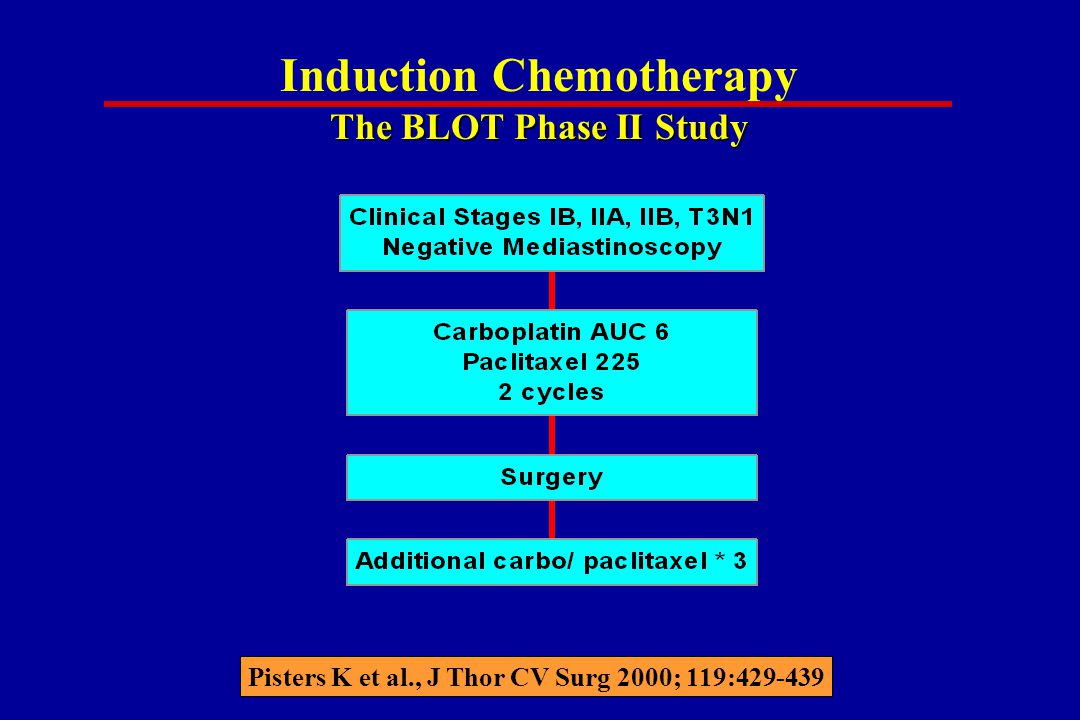 The BLOT Phase II Study Induction Chemotherapy The BLOT Phase II Study Pisters K et al., J Thor CV Surg 2000; 119:429-439