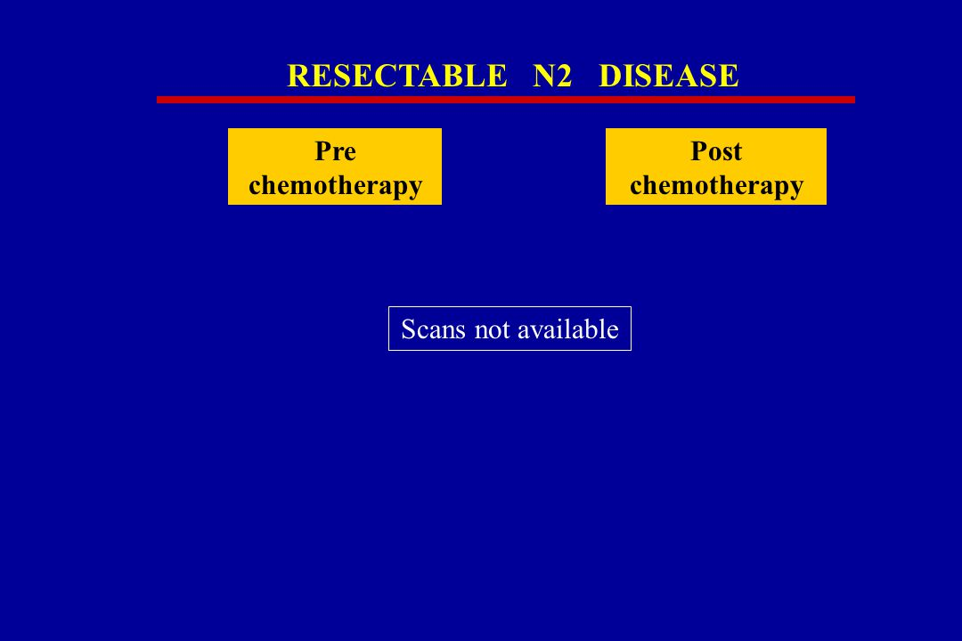 RESECTABLE N2 DISEASE Pre chemotherapy Post chemotherapy Scans not available