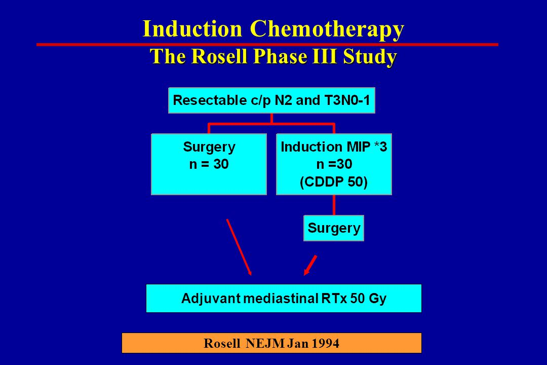 The Rosell Phase III Study Induction Chemotherapy The Rosell Phase III Study Rosell NEJM Jan 1994 Adjuvant mediastinal RTx 50 Gy