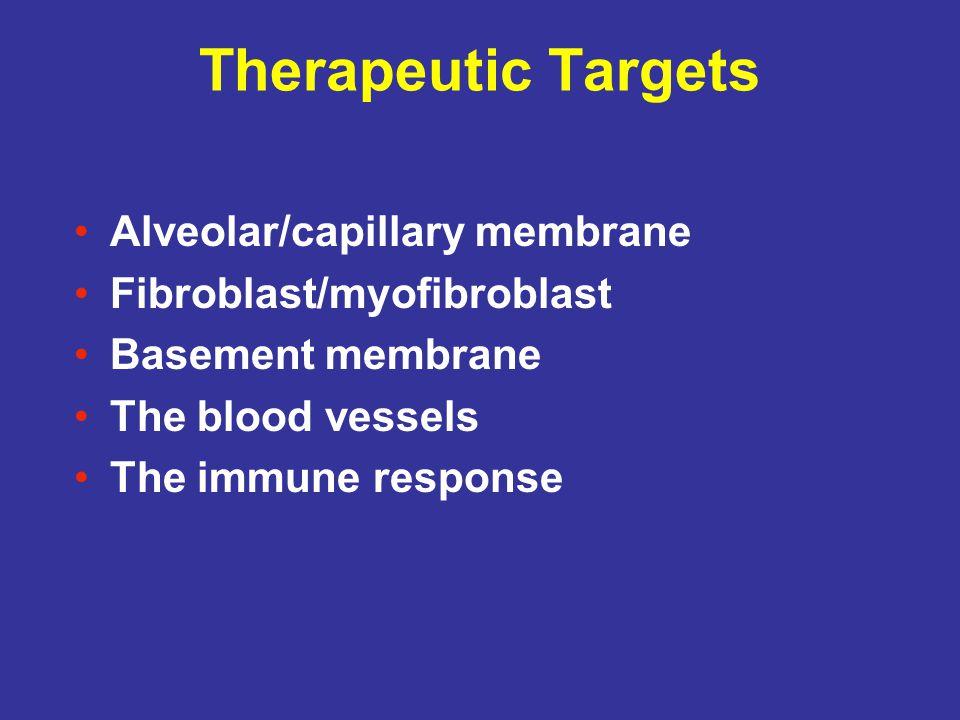 Therapeutic Targets Alveolar/capillary membrane Fibroblast/myofibroblast Basement membrane The blood vessels The immune response