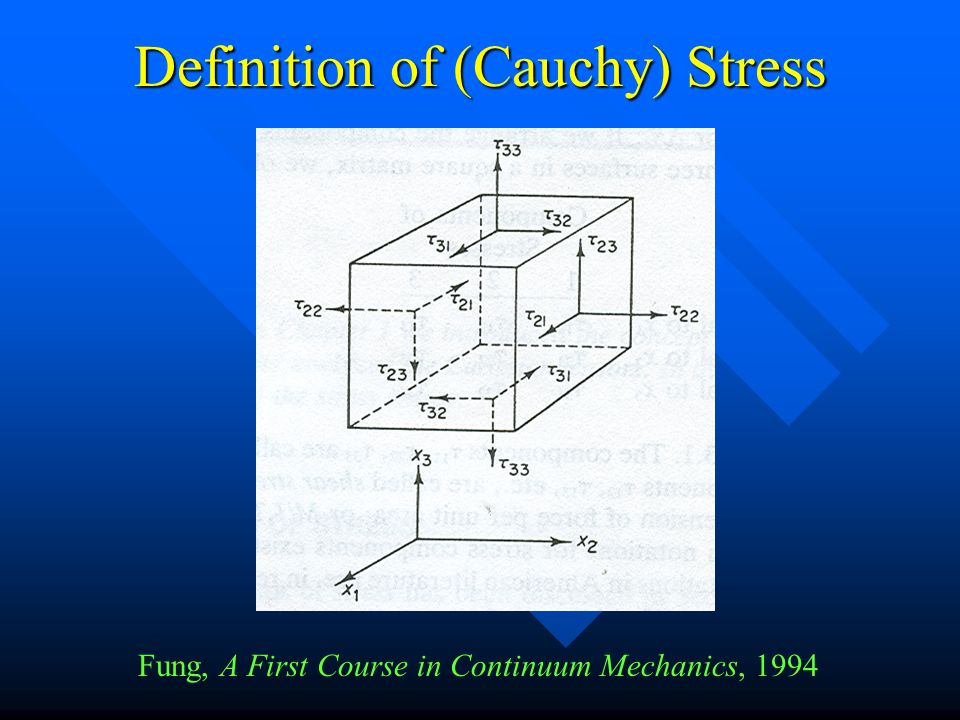 Definition of (Cauchy) Stress Fung, A First Course in Continuum Mechanics, 1994
