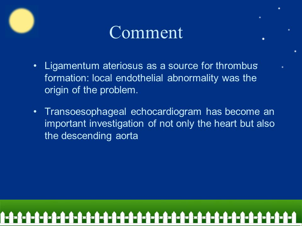 Comment Ligamentum ateriosus as a source for thrombus formation: local endothelial abnormality was the origin of the problem. Transoesophageal echocar