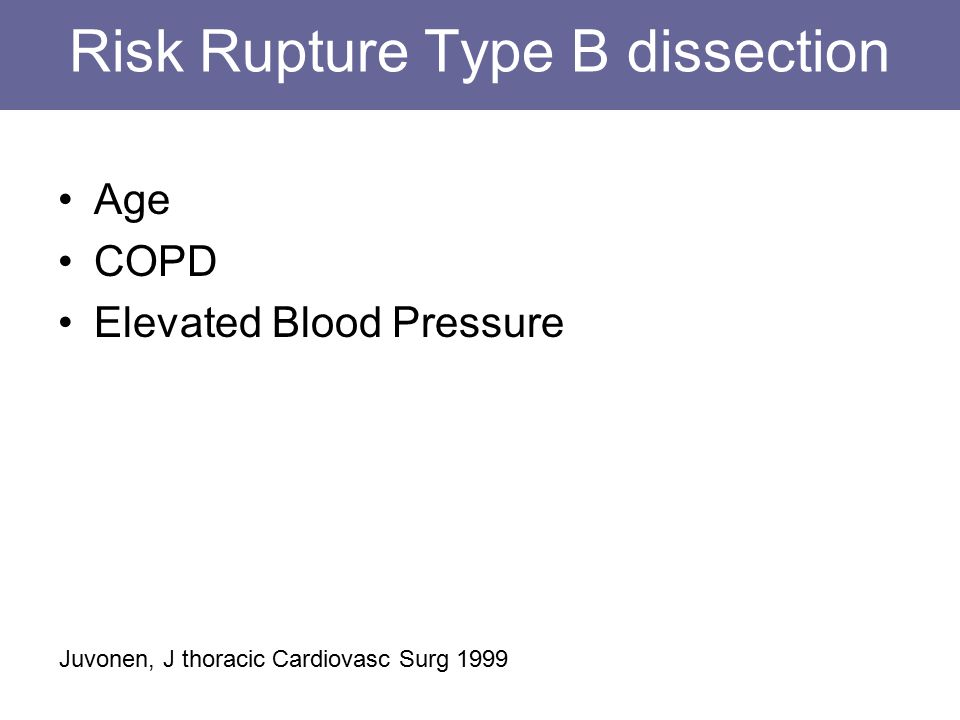 Risk Rupture Type B dissection Age COPD Elevated Blood Pressure Juvonen, J thoracic Cardiovasc Surg 1999