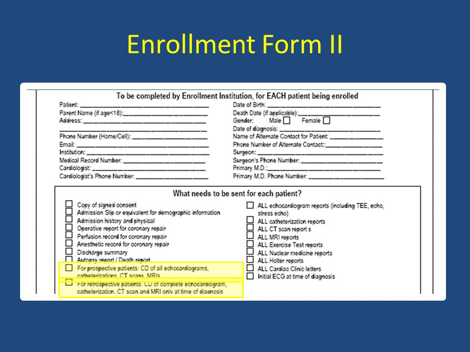 Enrollment Form II
