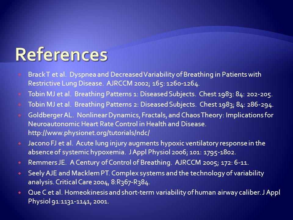  Brack T et al. Dyspnea and Decreased Variability of Breathing in Patients with Restrictive Lung Disease. AJRCCM 2002; 165: 1260-1264.  Tobin MJ et