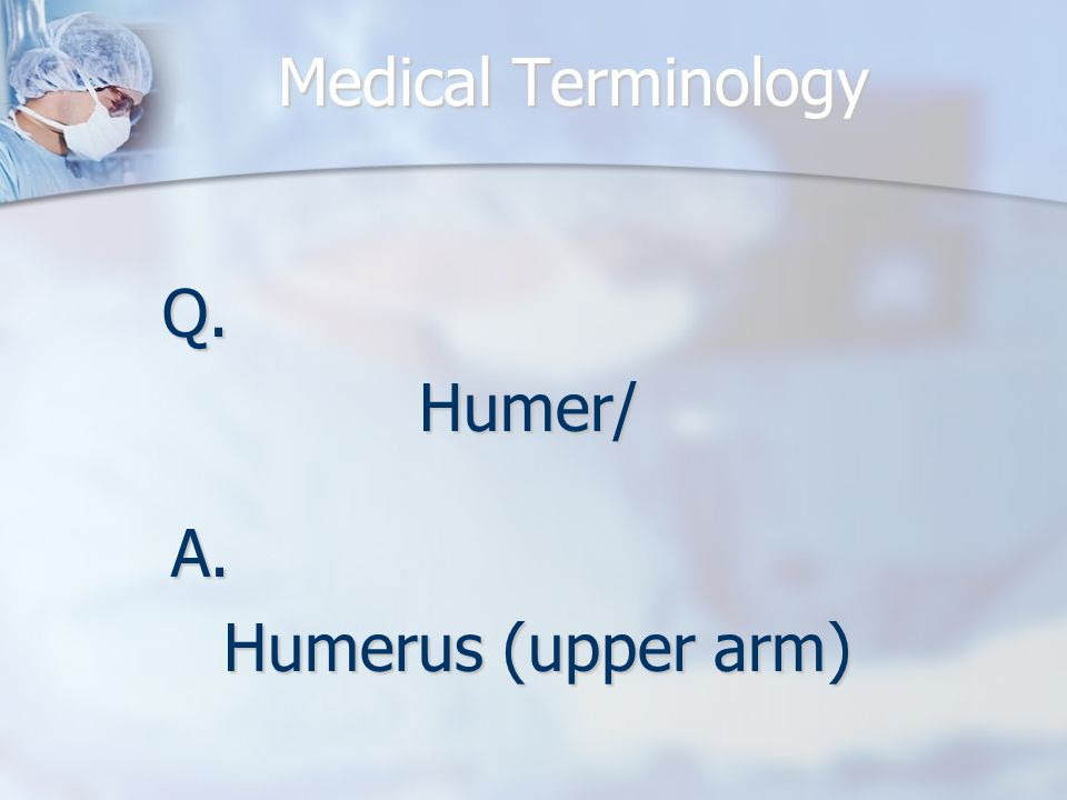 Medical Terminology Q.Humer/ A. Humerus (upper arm)