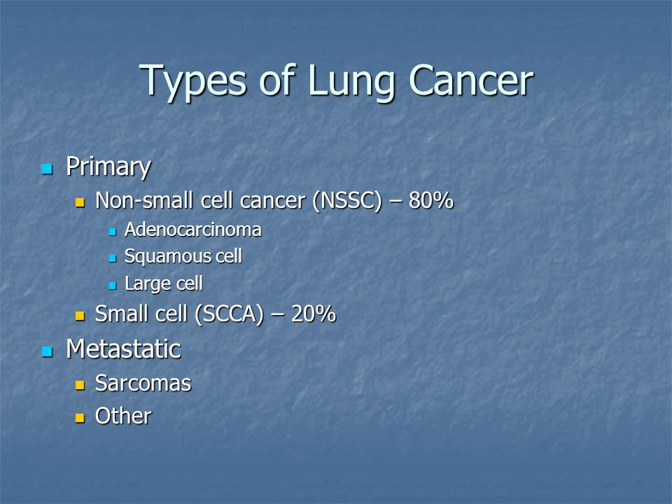 Types of Lung Cancer Primary Primary Non-small cell cancer (NSSC) – 80% Non-small cell cancer (NSSC) – 80% Adenocarcinoma Adenocarcinoma Squamous cell Squamous cell Large cell Large cell Small cell (SCCA) – 20% Small cell (SCCA) – 20% Metastatic Metastatic Sarcomas Sarcomas Other Other