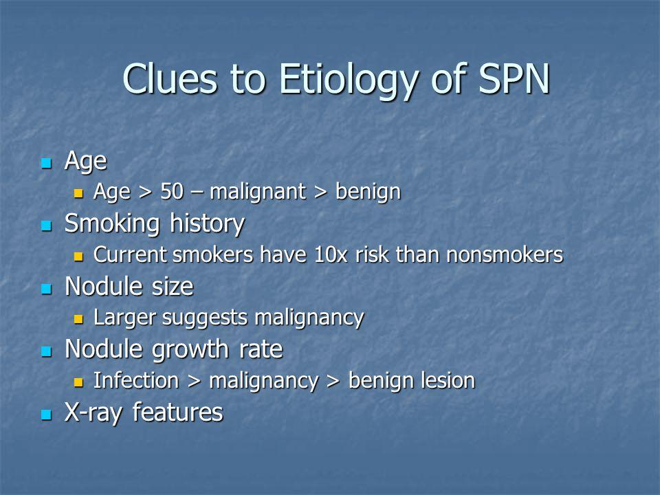 Clues to Etiology of SPN Clues to Etiology of SPN Age Age Age > 50 – malignant > benign Age > 50 – malignant > benign Smoking history Smoking history