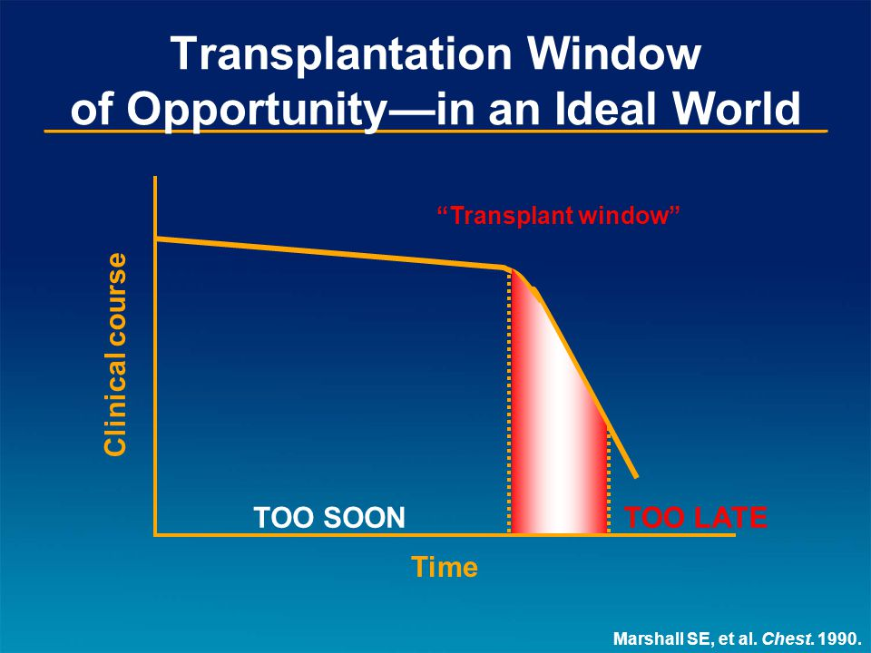 Transplantation Window of Opportunity—in Reality Time Clinical course TOO SOON?TOO LATE.