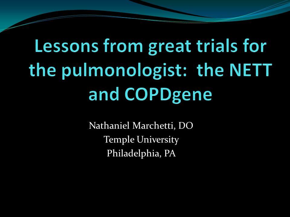The National Emphysema Treatment Trial (NETT)
