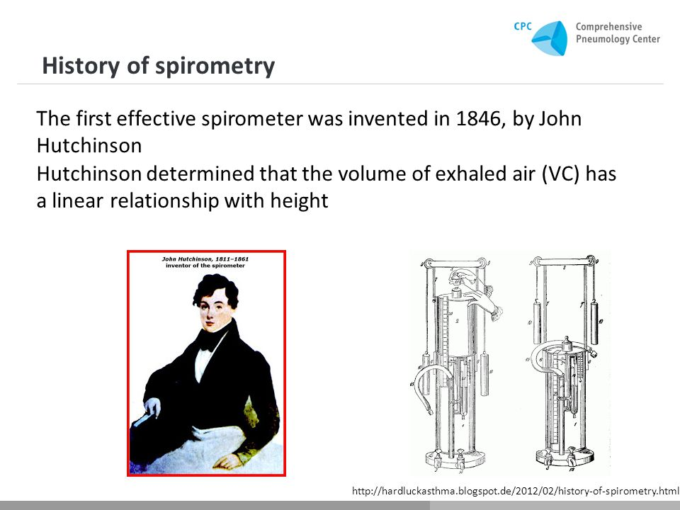 History of spirometry Hutchinson determined that the volume of exhaled air (VC) has a linear relationship with height The first effective spirometer was invented in 1846, by John Hutchinson http://hardluckasthma.blogspot.de/2012/02/history-of-spirometry.html