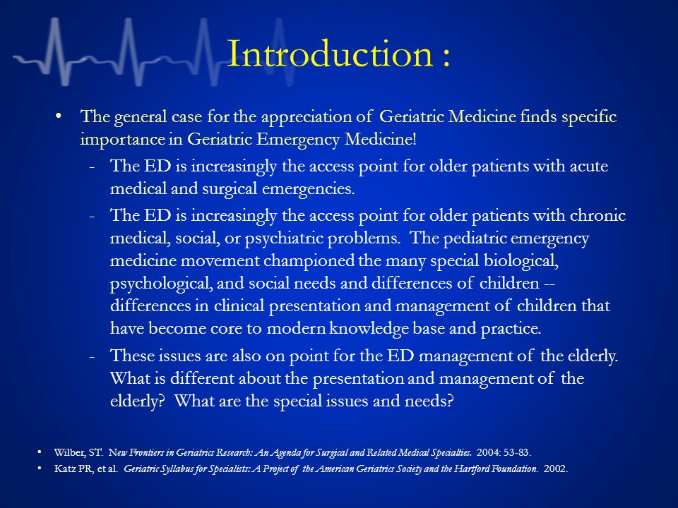 Introduction: The emergency medicine literature is responding with discussions of the demographics, physiology, pharmacology, and psychosocial issues in elder ED care.