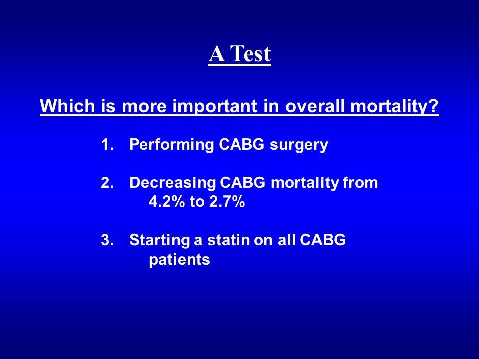 1. Performing CABG surgery 2. Decreasing CABG mortality from 4.2% to 2.7% 3.